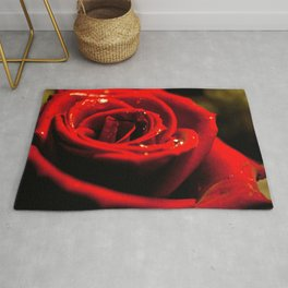 Magnificent Beautiful Red Flower Petals Zoom UHD Rug