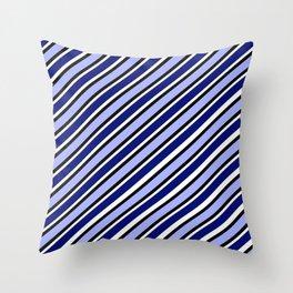 TEAM COLORS 1....Dk Blue, light blue, black white diagonal stripe Throw Pillow