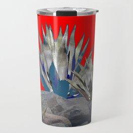 DECORATIVE  RED GREY DESERT AGAVE CACTUS Travel Mug