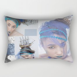 sea queen. face of the young beautiful girl make-up in sea style Rectangular Pillow