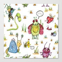 whimsical bug watercolor Canvas Print