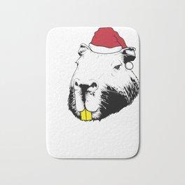 Capybara Christmas Bath Mat