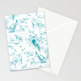ADVENTURE TOILE BLUE Stationery Cards