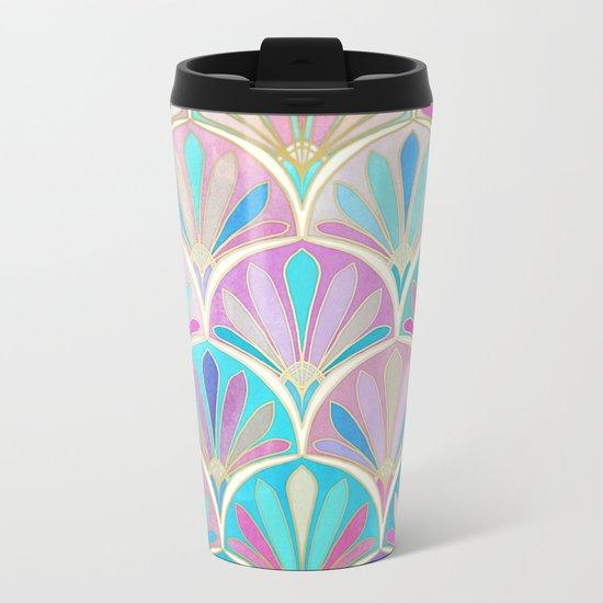 Glamorous Twenties Art Deco Pastel Pattern Metal Travel Mug
