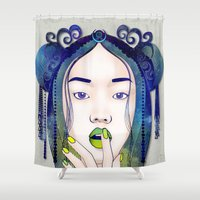 pagan Shower Curtains featuring Luna by Stevyn Llewellyn