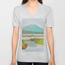 Watercolor Vintage Fuji Mountain Landscape Graphic Unisex V-Neck