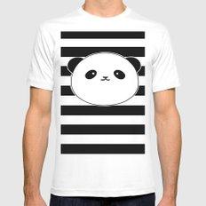 Cute, stripy Panda Face White MEDIUM Mens Fitted Tee
