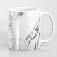 white marble Mugs featuring Marble by MatiasMilton