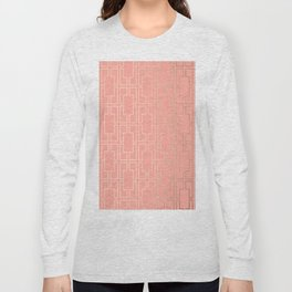 Simply Mid-Century in White Gold Sands on Salmon Pink Long Sleeve T-shirt