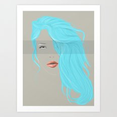 Emo Girl-Grey Art Print