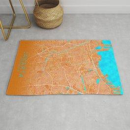 Jakarta, Indonesia, Gold, Blue, City, Map Rug