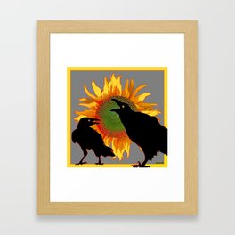 Two Contentious Crows/Ravens & Yellow Sunflower Grey Art Framed Art Print