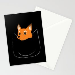 Fox in my pocket - on black Stationery Cards