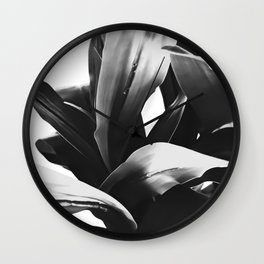leaves texture abstract background in black and white Wall Clock