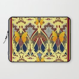 Decorative Yellow Art Nouveau Butterfly Maroon Designs Laptop Sleeve