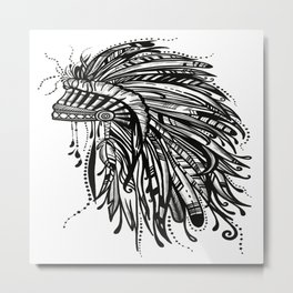 Native American Indian Headdress Warbonnet Black and White Metal Print