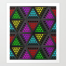 Abstract ornament with geometric prisms Art Print