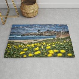 Daisies, Sunset Cliffs, San Diego Rug