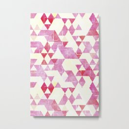 Abstract Pink Triangles, Watercolor Pattern Metal Print