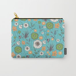 Emma - Wildflowers in Teal & Tangerine Carry-All Pouch