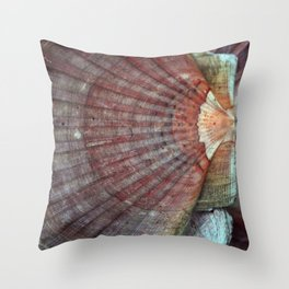 Scallop Shells Macro photography Texture Throw Pillow