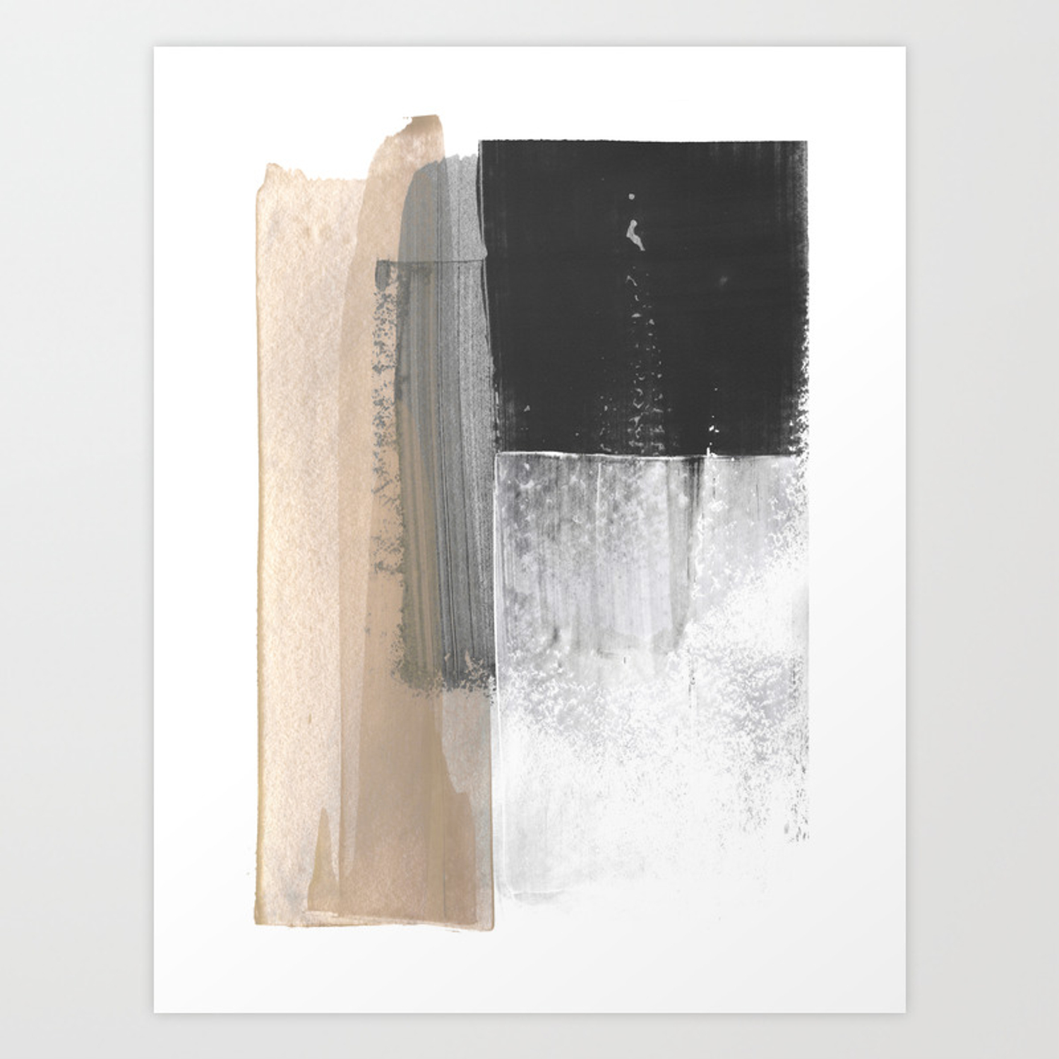 Beige And Grey Colorblock Textured Abstract Painting Art Print By