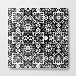 Retro .Vintage . Black and white openwork ornament . Metal Print