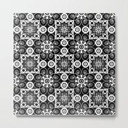 Retro .Vintage . Black and white openwork ornament . Metal Print