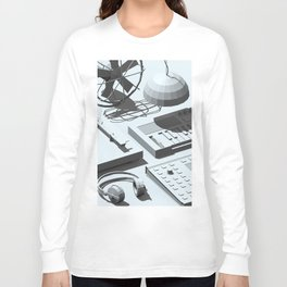 Low Poly Studio Objects 3D Illustration Grey Long Sleeve T-shirt