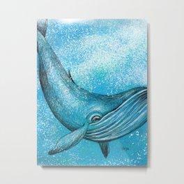 Whale in Blue Metal Print