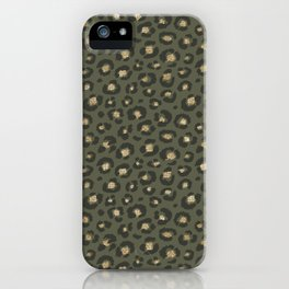 Chic Gold Glitter Military Green Leopard iPhone Case