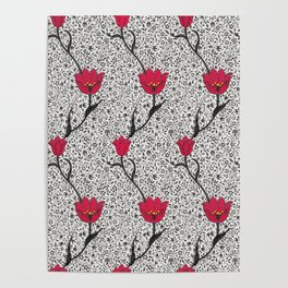 Art Nouveau Tulip Damask, Grey / Gray and Red Poster