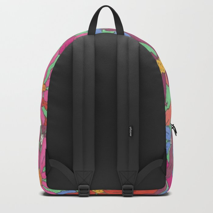 Colorful Retro Floral Print Backpack
