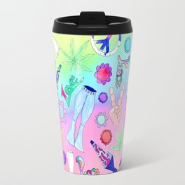 Psychedelic 70s Groovy Collage Pattern Travel Mug