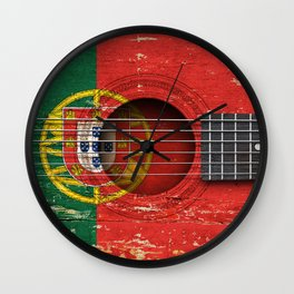 Old Vintage Acoustic Guitar with Portuguese Flag Wall Clock