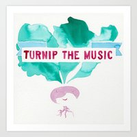 pun Art Prints featuring TURNIP PUN by Connie Cann