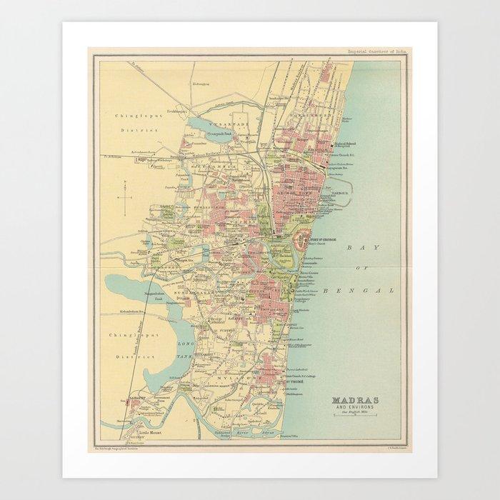 Madras India Map.Vintage Map Of Madras India 1909 Art Print By Bravuramedia Society6