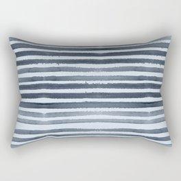 Simply Shibori Stripes Indigo Blue on Sky Blue Rectangular Pillow
