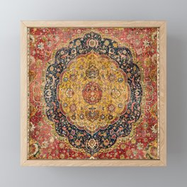Indian Boho III // 16th Century Distressed Red Green Blue Flowery Colorful Ornate Rug Pattern Framed Mini Art Print