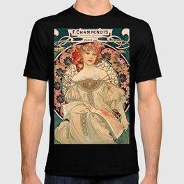 Mucha Daydream Art Nouveau Edwardian Woman Floral Portrait T-shirt