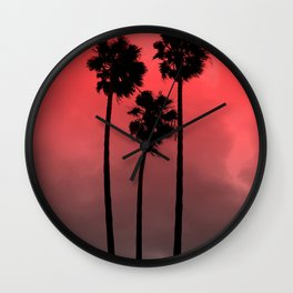 Red Fade Palm Trees Wall Clock