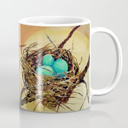 Blue Robin Eggs in a Nest on a Tree Branch Coffee Mug