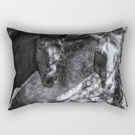 Mica and Malpais BW - Pryor Mustangs Rectangular Pillow