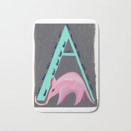 A is for Aardvark Letter Alphabet Decor Design Art Pattern Bath Mat
