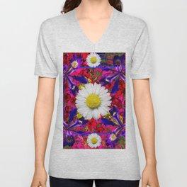 White Shasta Daisies Purple Floral Garden Art Unisex V-Neck