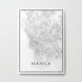 Manila City Map The Philippines White and Black Metal Print