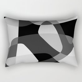 Mid Century Modern Abstract Rock Layers Charcoal Rectangular Pillow