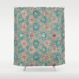 Lotus flower - pistachio green woodblock print style pattern Shower Curtain