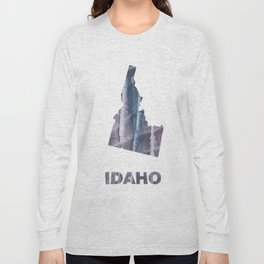 Idaho map outline Slate gray blurred wash drawing design Long Sleeve T-shirt