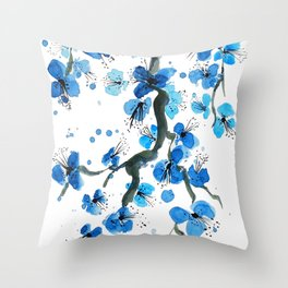 Blue Japanese Blossoms Throw Pillow